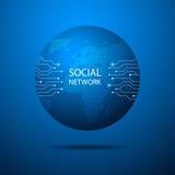 Fondo blu astratto con la mappa di mondo, linea di Internet e collegato Immagini Stock