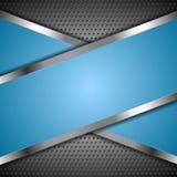 Fondo blu astratto con progettazione metallica Immagini Stock Libere da Diritti
