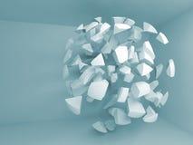 Fondo blu astratto 3d con i frammenti di grande sfera Immagine Stock