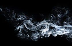 Fondo blu astratto del fumo su fondo nero Fotografia Stock
