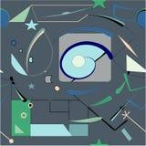 Fondo blu astratto del nero del cerchio, modello senza cuciture 18-22 Illustrazione di Stock