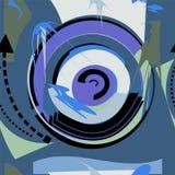 Fondo blu astratto del nero del cerchio, modello senza cuciture 18-22 Illustrazione Vettoriale
