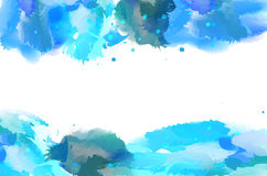 Fondo blu astratto dell'acquerello con lo spazio della copia Immagini Stock