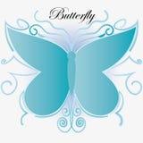 Fondo blu astratto della farfalla di vettore Fotografia Stock