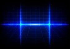 Fondo blu astratto di concetto di tecnologia con il chiarore luminoso Fotografia Stock