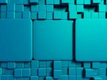 Fondo blu astratto di progettazione dei cubi Immagini Stock