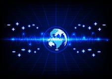 Fondo blu astratto di tecnologia energetica del globo e di illuminazione I Immagini Stock Libere da Diritti