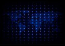 Fondo blu astratto di vettore delle luci della mappa di mondo Fotografia Stock