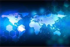 Fondo blu astratto Fondo della rete Tecnologie innovarici Immagine Stock