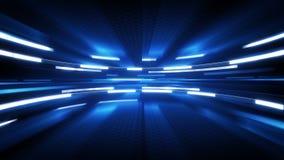 Fondo blu brillante di tecnologia di incandescenza illustrazione di stock