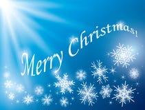 Fondo blu - carta di Buon Natale con i fiocchi di neve Illustrazione di Stock