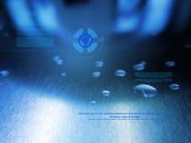 Fondo blu con gli elementi di ciao-tecnologia e dell'acqua Fotografie Stock