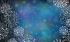 Fondo blu con i fiocchi di neve per il Natale ed il nuovo anno Illustrazioni di Digital dei fiocchi di neve trasparenti illustrazione di stock