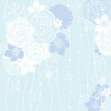 Fondo blu con i fiori Fotografie Stock Libere da Diritti