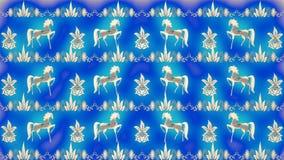 Fondo blu con i modelli pieghi russi dell'oro Immagine Stock Libera da Diritti