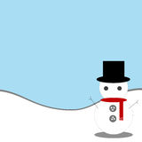 Fondo blu con il pupazzo di neve fotografia stock libera da diritti