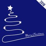 Fondo blu con l'albero di Natale, di Natale tema 2018 Immagini Stock