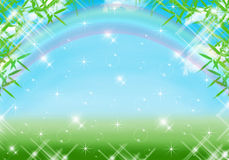 Fondo blu con l'arcobaleno Fotografia Stock