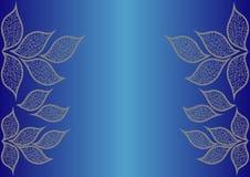 Fondo blu con le foglie astratte Fotografia Stock