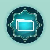 Fondo blu degli azzurri del bottone dello sprazzo di sole vetroso magico dell'icona della cartella immagini stock