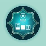 Fondo blu degli azzurri del bottone dello sprazzo di sole vetroso magico dell'icona del podio fotografie stock