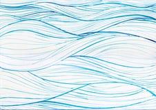 Fondo blu del cerchio del mare dell'oceano della pittura dell'acquerello sulla carta bianca della tela Fotografia Stock