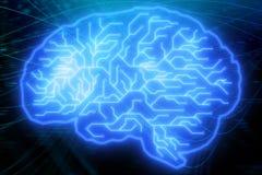 Fondo blu del cervello del circuito illustrazione vettoriale