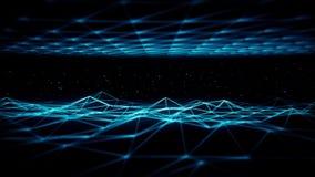 fondo blu del ciclo di griglia VJ di Wireframe dello spazio di fantascienza 3D royalty illustrazione gratis
