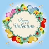 Fondo blu del fiore dell'illustrazione gialla del biglietto di S. Valentino illustrazione di stock