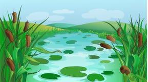 Fondo blu del gioco del fumetto del fiume illustrazione di stock