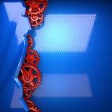 Fondo blu del metallo con gli ingranaggi rossi della ruota dentata Immagini Stock