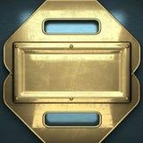 Fondo blu del metallo con l'elemento giallo Immagini Stock
