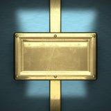 Fondo blu del metallo con l'elemento giallo Fotografia Stock