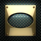 Fondo blu del metallo con l'elemento giallo Immagine Stock Libera da Diritti