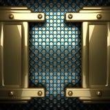 Fondo blu del metallo con l'elemento giallo Fotografie Stock