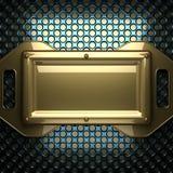 Fondo blu del metallo con l'elemento giallo Fotografie Stock Libere da Diritti
