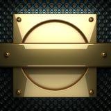 Fondo blu del metallo con l'elemento giallo Immagini Stock Libere da Diritti