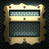 Fondo blu del metallo con l'elemento giallo Immagine Stock