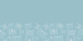 Fondo blu del modello del confine delle farfalle di vettore illustrazione di stock