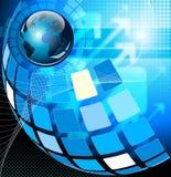 Fondo blu dell'estratto di ciao-tecnologia Immagini Stock Libere da Diritti