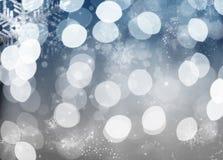 Fondo blu dell'estratto di festa con le stelle ed i fiocchi di neve Immagine Stock Libera da Diritti
