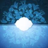 Fondo blu dell'ornamento floreale Fotografia Stock