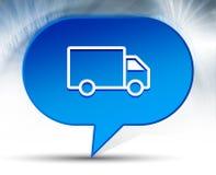 Fondo blu della bolla dell'icona del camion di consegna illustrazione vettoriale