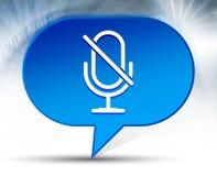 Fondo blu della bolla dell'icona muta del microfono immagine stock