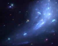 Fondo blu della galassia fotografie stock