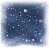 Fondo blu della neve di notte Immagini Stock Libere da Diritti