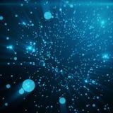Fondo blu della tinta dello spazio astratto Punti caotico collegati e poligoni che volano nello spazio Detrito ricadente Immagine Stock