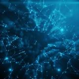 Fondo blu della tinta dello spazio astratto Punti caotico collegati e poligoni che volano nello spazio Detrito ricadente Fotografie Stock Libere da Diritti