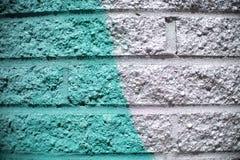 Fondo blu di Aqua Green Gray Brick Wall immagine stock