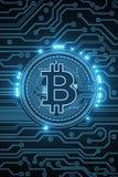 Fondo blu di Bitcoin Fotografia Stock Libera da Diritti